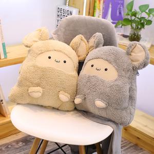 多功能抱枕被子两用办公?#33402;?#21472;毯子珊瑚绒空调午睡靠垫三合一汽车