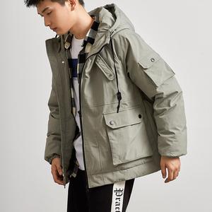 唐獅棉衣男冬季新款韓版短款連帽棉服工裝棉襖面包服潮流加厚外套