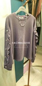 1003324 韩国东大门女装秋季新品 the most 纯色木耳边珍珠卫衣