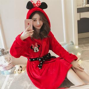 珊瑚绒睡衣女秋冬加厚保暖韩版学生甜美可爱本命年大红结婚庆睡袍