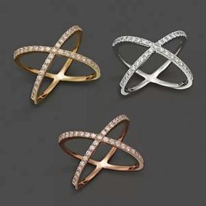 美丽华珠宝18k白金钻石戒指40分钻女戒玫瑰金交叉钻戒包邮