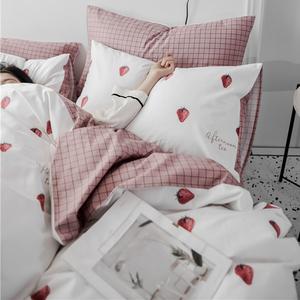 網紅ins北歐風純棉四件套少女心全棉床上用品宿舍被套床單三件套