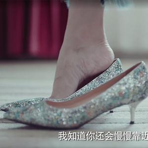 恋爱先生明星同款银色尖头高跟鞋5cm细跟网红亮片中跟女伴娘婚鞋