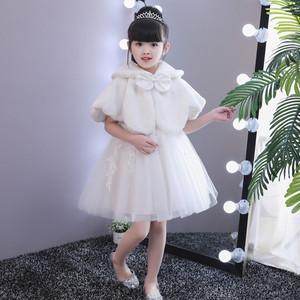 儿童毛绒斗篷披风秋冬新款白色女童披肩童装坎肩礼服公主裙小外套