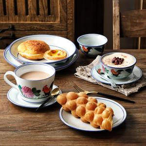 马克杯怀旧公鸡碗咖啡杯葡萄牙餐具刀叉勺家用鸡公碗点心碟甜品碗