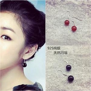925银耳环红黑色银质耳饰品老银匠仿古典民族风 简约天然玛瑙耳坠