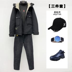 【三件套】男士羽绒服+高领毛衣+牛仔裤