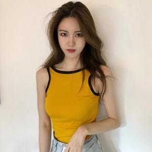 夏装新款韩版chic风性感大露背无袖?#37319;?#36793;短款背心无袖T恤上衣女