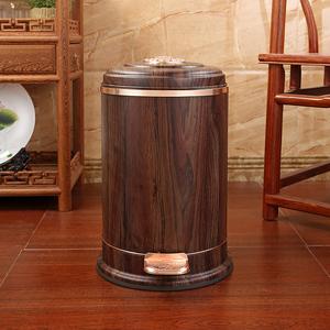 亿丽家仿木纹新中式垃圾桶家用客厅卧室茶室复古高档垃圾桶脚踏式