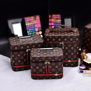 便攜皮質化妝包收納包大容量硬殼化妝品收納盒旅行韓國小號手提箱