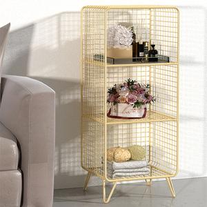 北欧金色网格飘窗置物架床头柜落地书架铁艺架子客厅沙发旁置物架