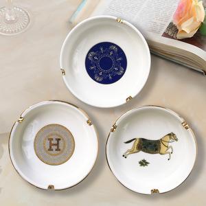 歐式圓形陶瓷小號煙灰缸創意個性男士茶幾臥室辦公桌客廳家居擺件