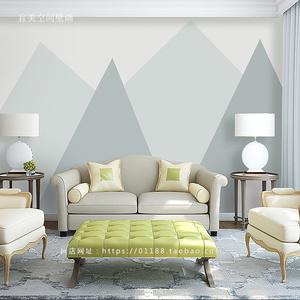 北欧风格抽象几何图形沙发卧室电视背景墙无缝无纺布壁纸壁画墙纸