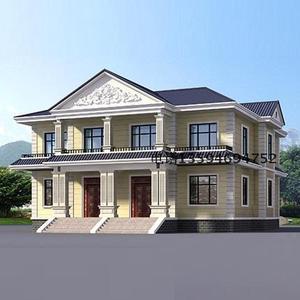 别墅图纸设计四间二层双拼错层兄弟房全套农村自建房效果施工图