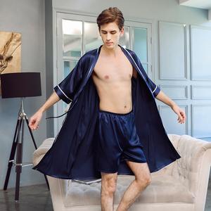 春秋短袖薄款冰絲男士睡袍夏季絲綢短褲浴袍睡衣兩件套裝長款浴衣