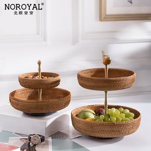 黃銅金色雙層餐桌水果盆客廳茶幾家用藤編籃北歐ins多層干糖果盤