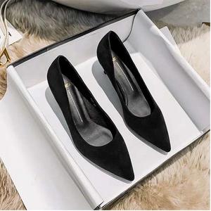 高跟鞋女2021年新款细跟小ck职业百搭尖头黑色工作单鞋女小码女鞋