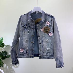 2019春季新品韩版修身显瘦重工立体花钉珠短款弹力牛仔夹克外套女