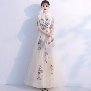 中式伴娘服2019新款秋冬季高贵气质高贵连衣裙宴会晚礼服女中国风