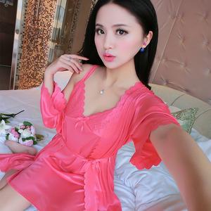 仿真丝短裙睡裙两吊带睡袍件套性感女人冰丝情趣睡裙夏季短袖情趣拍装睡衣街图片
