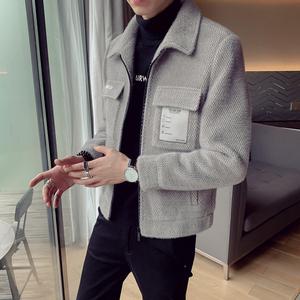 2019新款風衣男短款韓版修身帥氣夾克秋冬季呢子外套男士毛呢大衣