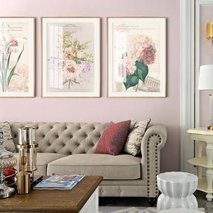 小美風格客廳裝飾畫美式簡美沙發背景墻花卉輕奢金屬邊框田園鄉村