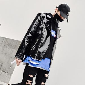 国潮嘻哈外套男摇滚织带机车皮衣演出服夜店社会人精神小伙皮夹克