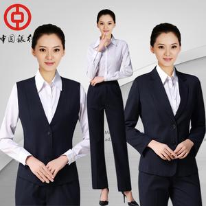 中国银行行服条纹西裤马甲?#34892;兄品?#22899;士西装套装长短袖衬衫西裙新