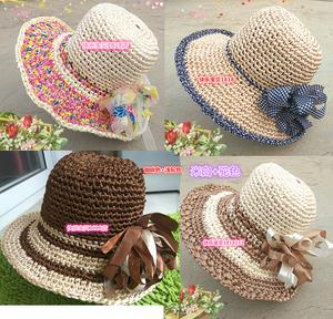 纯手工编织遮阳帽丝带钩帽子太阳帽丝带雪纱带彩色布条钩帽子