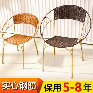 藤椅小藤椅子靠背椅户外儿童靠背椅时尚铁?#25307;?#38386;喝茶椅成人小凳子