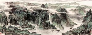 郜宗遠青山綠水155x60橫幅字畫宣紙打印復制畫芯書畫國畫客廳裝飾