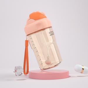 神气果果防摔儿童水杯吸管水杯ppsu幼儿园婴儿宝宝学饮杯吸管水壶