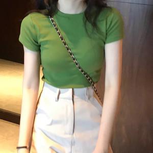 2019夏季新款韩版高腰牛油果绿色短袖t恤女紧身基础?#21487;?#25171;底上衣