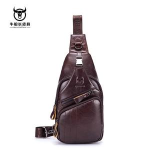 牛船长(BULLCAPTAIN)广州皮具供应男士真皮休闲运动胸包厂家