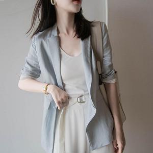 芝禾icicle之禾2019新款女装国内专柜正品代购亚麻休?#34892;?#35199;装外套