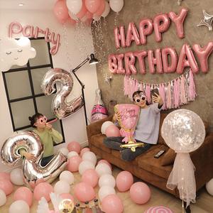 女孩生日趴體裝飾氣球 派對背景墻場景驚喜布置 網紅ins風 男生