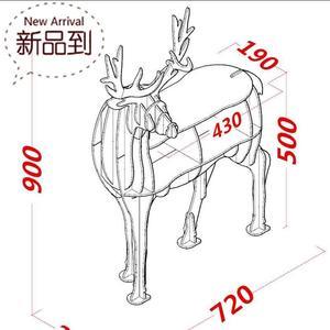 麋鹿置物架組裝公鹿b動物造型收納柜子帶抽屜北歐風格拼裝擺件簡