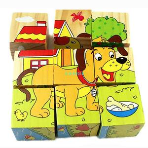 Wooden Animal Puzzle Kids Toys 6 Sides Wisdom Jigsaw Early E