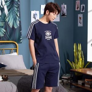 睡衣男士夏季纯棉短袖短裤薄款加大码青少年全棉家居服套装可外穿