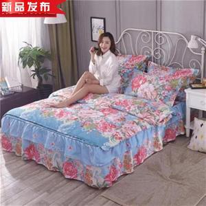 结婚红色床裙款四件套18m床上用品加厚床罩4g三t件套15米 流金溢