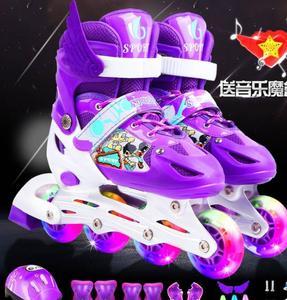 溜冰鞋闪光双排轮全套装全套运动女孩可调节小孩子公主夜光直排轮