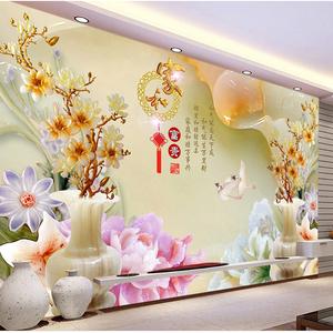 中式3D玉雕无缝墙布电视背景墙壁纸客厅影视墙纸现代简约装饰壁画