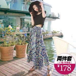 分体两件套网红裙子泰国普吉岛小个子三亚沙滩裙抖音套装脚踝长裙