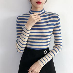 半高领条纹毛衣女秋冬外穿2019新款针织衫女长袖内搭紧身打?#21672;?#34915;