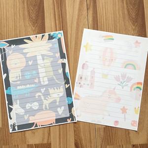 片单线草稿本印花信纸信封套装小号尺寸多色方便多款写信男生卡