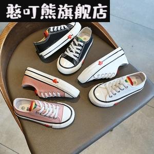 。2020春季新款兒童帆布鞋雙星名人女童單鞋男童板鞋寶寶鞋休閑鞋