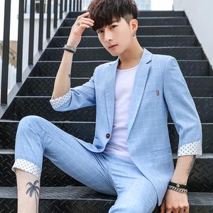 七分袖格子西服男學生韓版修身帥氣小西裝套裝發型師禮服三件套潮