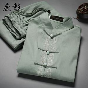 中老年人短袖唐裝套裝中年男爸爸裝夏季中式亞麻棉麻衣服中國風