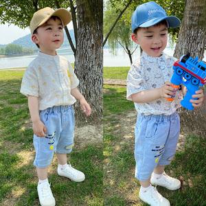 男童短袖印花襯衫夏季兒童新款純棉洋氣立領薄款襯衣寶寶夏天童裝