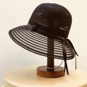 20春夏日本小兔子皮繩裝飾女百搭網紗薄款漁夫帽出游盆帽遮陽草帽